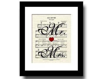 All Of Me Mr. and Mrs Song Lyric Sheet Music Art Print, First Dance Art, Names and Date, Custom Wedding & Anniversary