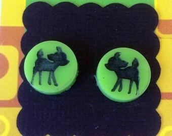 Deer Laser Cut Earrings - acrylic, perspex, plastic, stud, retro, green, bambi