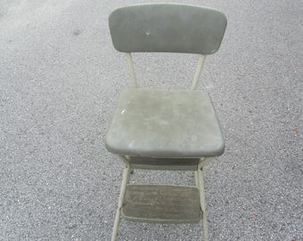 Vintage Cosco Metal Step Stool, Step Chair, Stool Step Ladder, Folding Step Stool, Kitchen Stool, Photo Prop, Gray / Green step stool