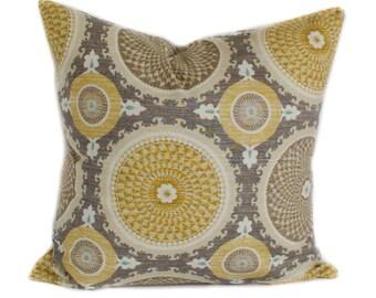 Yellow pillow cover, Throw pillow, Decorative pillow, Suzani pillow, Accent pillow, Sham, 16x16, 18x18, 20x20, 22x22, 24x24, 26x26