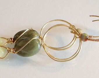 Green Jasper Jade and Agate Earrings Handmade