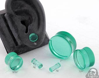 "Double Flare Spearmint Glass Plugs 6g, 4g, 2g, 0g, 10mm, 7/16"", 1/2"" (12.5mm), 9/16"", 5/8"", 3/4"", 7/8"", 1"""