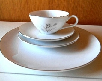 Creative Royal Elegance Dinnerware Set 5 x 4 Piece Settings And 7 Buttter Pats NEW Gray Tulips on White