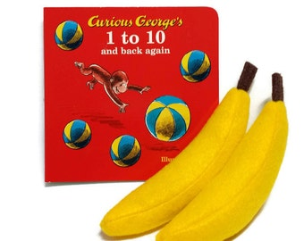 Felt Banana Gift Set with bonus Curious George book!! - gift packaging included!! 3 bonus book options! eco-friendly felt play foods!