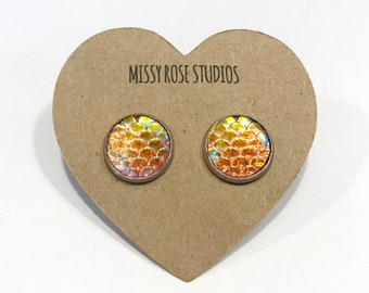orange mermaid earrings, mermaid stud earring, fish scale earrings, large stud earrings, earrings handmade, jewelry handmade, mom gift