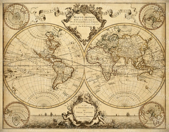 1720 Old World Map Restoration decor Style World Map Guillaume de L'Isle mappe monde Wall Map