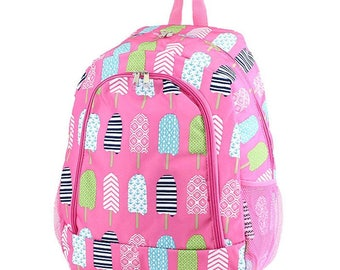 Popsicls Monogram Backpack, Personalized Backpack, Monogram Bookbag, Girls Backpack, Pink Backpack, Kids Backpack, School Backpack