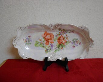 SALE/1930s Pearlized German Porcelain Platter / Hand Painted