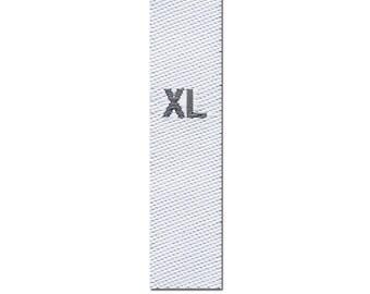 25-woven textile size labels, size XL, white