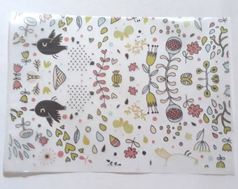 30 sheets 21x15cm Flowers Birds Greaseproof Oil Wax Food Wrapping Paper