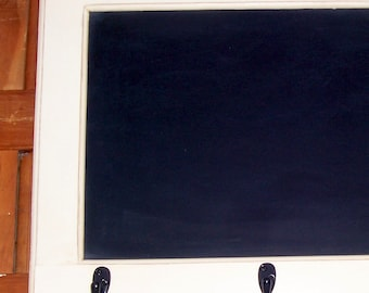 Rustic chalkboard framed chalkboard key rack coathook buttermilk distressed  chalkboard tray