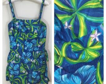 50s 60s Paradise Hawaii Blue Hawaiian Print Sarong One Piece Swimsuit, Pin Up Playsuit, Size XS to Small