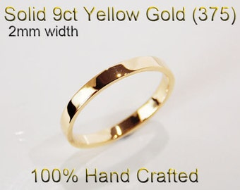 9ct 375 Solid Yellow Gold Ring Wedding Engagement Friendship Friend Flat Band 2mm