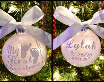 Baby's first christmas ornament- my first christmas- custom baby ornament-christmas-baby-baby shower gift- first christmas