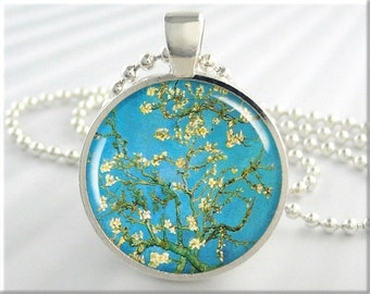 Van Gogh Almond Tree Pendant, Turquoise Jewelry, Van Gogh Blossoming Almond, Art Necklace, Resin Charm, Gift Under 20, Round Silver 123RS