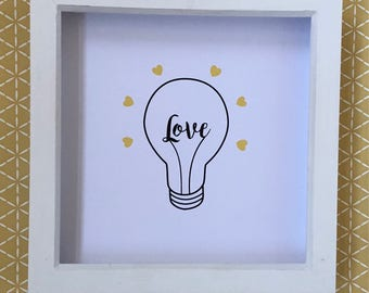 Light Bulb Wall Art with Frame