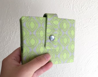 Lime Green and Gray Geometric Print Wallet - Midsize Cash and Card Wallet with Change pouch-