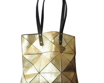 GOLD leather Tote, metallic gold Leather Bag, Leather Handbag, Leather Bag, Women Tote, Metallic Leather Bag, Gold Tote, Gold leather tote