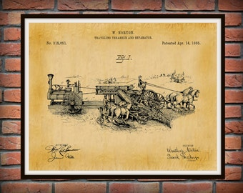 Patent 1885 Traveling Trasher and Separator Machine - Horse Drawn Tractor - Art Print - Poster - Wall Art - Agriculture Art - Farm Art
