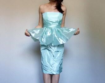 Mint Green Dress Peplum Dress 80s Strapless Party Dress Cocktail Pastel Prom Dress - Extra Small XS