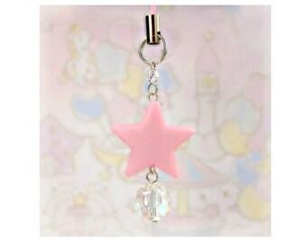 Cute Charms For Phones Planners DS Fairy Kei Sweet Lolita Kawaii Bag Charm Pink Star