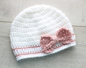 Baby Girl Crochet hat Valentine's Baby Crochet Hat gray Beanie and Pink Blush Bow Cute Baby Beanie for Girls