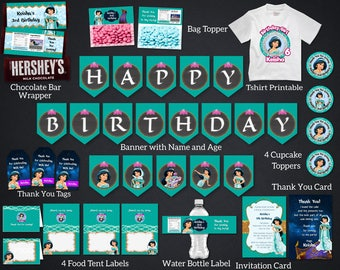 Personalized Princess Jasmine Birthday Party Kit Package Bundle Banner Invitation Bag Topper Printable DIY - Digital File