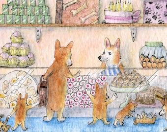 Welsh Corgi dog 8x10 art print - the whole family in the cake shop choosing cupcakes sponge jam tarts carrot pups doughnuts more cakes...