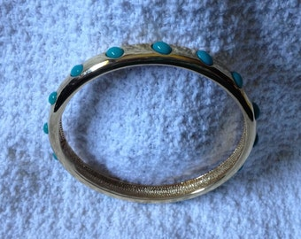 J. Crew  Gold Tone Bangle with Green/Blue Beaded Embellishments, Gold Tone Bangle Bracelet