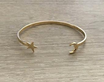 Crescent Moon & Star Cuff, Gold Cuff, Thin Cuff, Gold Bracelet