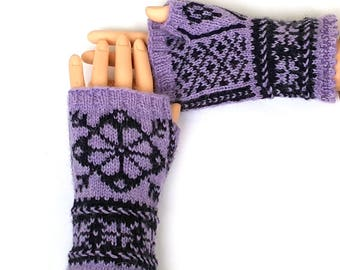 Purple Dark Blue Hand Knitted Nordic Fingerless Gloves Hand Warmers Wrist Warmers Arm Warmers Nordic Mittens Texting Gloves Driving Gloves