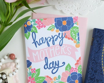 Happy Mother's Day, Mother's Day Card Floral, Mama, Mom, Pink, Pretty, Stationery, Hand Drawn, Illustration, Flowers, Flora