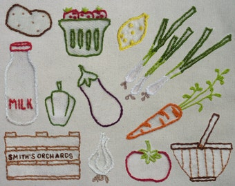 Farmers Market Hand Embroidery Pattern. Classic Series.