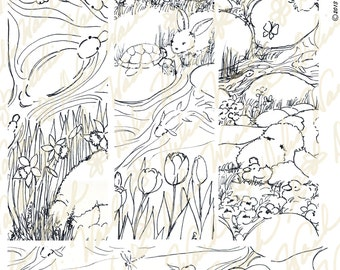 Moments in Marty's Garden Bookmarks 1 - Classroom Activity Resource - Digital Color Me Collage Sheet - Printable PDF - Instant Download