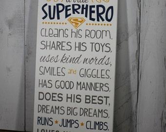 A true SUPERHERO/Subway Style/Boy Sign/Boy's Decor/Gift/White/Yellow/Gray/White/Superman/Hero/Boy/Wood sign