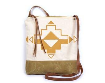 weekdayer • crossbody bag - waxed canvas • geometric print - waxed canvas - screenprinted - southwestern • casita no. 1