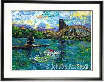 Rowers wall art, Rowing print, Rowers print, Crewing wall art, Pittsburgh Rowers, Pittsburgh Crewing,   Johno Prascak