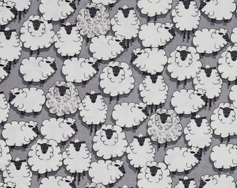 Sheep Sheepish Grey Eyes on Ewe Gray Farm Animal Cotton Fabric by Michael Miller