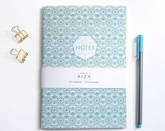 Mint green geometric notebook, abstract A5 notebook,  lined paper notebook, Christmas gift, gift for stationery lovers, gift for her