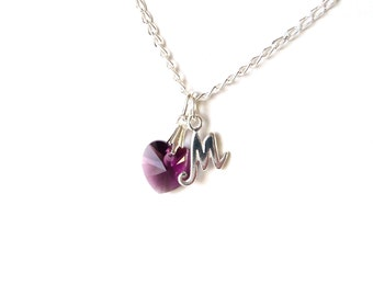 February Birthstone Necklace, Amethyst Birthstone Necklace, Birthday Gifts for Her, Necklace for Girls, Amethyst Necklace Sterling Silver
