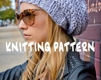 Knit Hat Pattern, Knitting Pattern HIP HIVE BEANIE, Knitted Slouchy Hat Pattern, Knit Slouch Beanie Pattern, Women's Men's Tam Hat Pattern