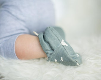Organic Knits Flight in Mineral Blue  All Fabric Soft Sole Baby Shoes Booties Shower Gift Birds