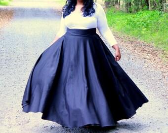 "Plus Size Maxi Skirt / Women plus size High Waist / plus size  (2 - 24)  41- 42"" L"