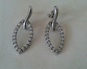Tear Drop 14K  White Gold Earrings
