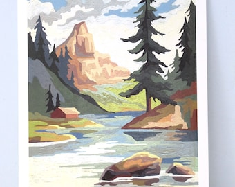 Reproduction Print of an Original Paint by Number Painting River and Stream