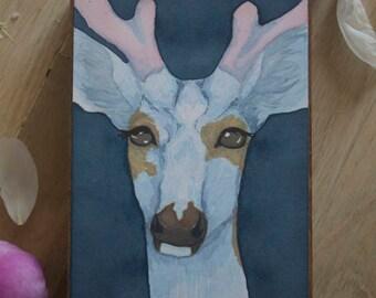 """Original Watercolor """"Dubious"""" - Piebald Deer Watercolor"""