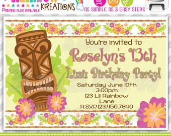 235: DIY - Tikki Hawaiian Luau Party Invitation Or Thank You Card