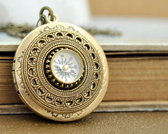 antiqued brass compass locket necklace - GUIDANCE - round locket with miniature working compass, vintage style,
