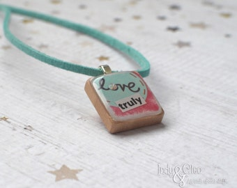 love Collage Scrabble Necklace, Handmade Scrabble Tile Pendant, Wood Tile Pendant, Love Jewelry, Tiny Jewelry, Swarovski Bling, love truly