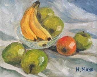 APPLES AND BANANAS Original Art by Halina Mann 8X10 Painting Oil